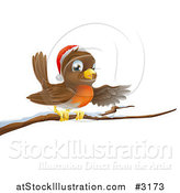 Vector Illustration of a Happy Christmas Robin Wearing a Santa Hat and Perched on a Snowy Branch by AtStockIllustration