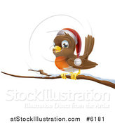 Vector Illustration of a Happy Christmas Robin Wearing a Santa Hat on a Snow Covered Branch by AtStockIllustration