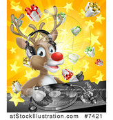 Vector Illustration of a Happy Christmas Rudolph Reindeer Dj Wearing Headphones over a Turntable and Star Burst Gift Explosion by AtStockIllustration