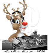 Vector Illustration of a Happy Christmas Rudolph Reindeer Dj Wearing Headphones over a Turntable by AtStockIllustration