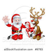 Vector Illustration of a Happy Christmas Santa Claus and Reindeer Opening a Gift by AtStockIllustration