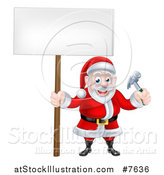 Vector Illustration of a Happy Christmas Santa Claus Carpenter Holding a Hammer and Blank Sign 5 by AtStockIllustration