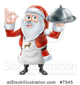 Vector Illustration of a Happy Christmas Santa Claus Chef Gesturing Ok and Holding a Food Cloche Platter 2 by AtStockIllustration