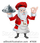 Vector Illustration of a Happy Christmas Santa Claus Chef Gesturing Ok and Holding a Food Cloche Platter 3 by AtStockIllustration