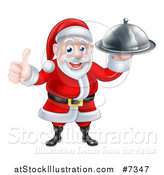 Vector Illustration of a Happy Christmas Santa Claus Chef Holding a Food Cloche Platter and Thumb up by AtStockIllustration