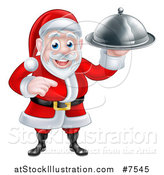 Vector Illustration of a Happy Christmas Santa Claus Chef Holding a Silver Cloche Platter and Pointing by AtStockIllustration