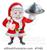 Vector Illustration of a Happy Christmas Santa Claus Chef Holding a Silver Cloche Platter and Thumb up by AtStockIllustration