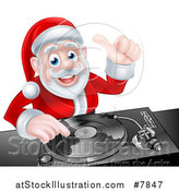 Vector Illustration of a Happy Christmas Santa Claus Dj Mixing Music on a Turntable and Giving a Thumb up by AtStockIllustration