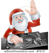 Vector Illustration of a Happy Christmas Santa Claus Dj Mixing Music on a Turntable and Waving by AtStockIllustration