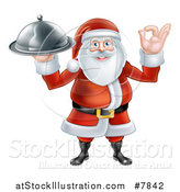 Vector Illustration of a Happy Christmas Santa Claus Gesturing Ok and Holding a Food Cloche Platter by AtStockIllustration