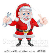 Vector Illustration of a Happy Christmas Santa Claus Giving a Thumb up and Holding a Wrench 2 by AtStockIllustration