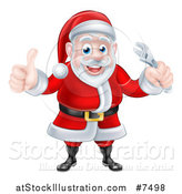 Vector Illustration of a Happy Christmas Santa Claus Giving a Thumb up and Holding an Adjustable Wrench by AtStockIllustration