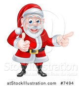 Vector Illustration of a Happy Christmas Santa Claus Giving a Thumb up and Pointing to the Right by AtStockIllustration