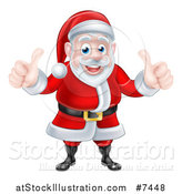 Vector Illustration of a Happy Christmas Santa Claus Giving Two Thumbs up by AtStockIllustration