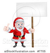 Vector Illustration of a Happy Christmas Santa Claus Holding a Blank Sign and Giving a Thumb up 2 by AtStockIllustration