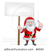 Vector Illustration of a Happy Christmas Santa Claus Holding a Spanner Wrench and Blank Sign by AtStockIllustration