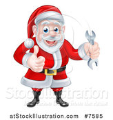 Vector Illustration of a Happy Christmas Santa Claus Holding a Wrench and Giving a Thumb up 2 by AtStockIllustration