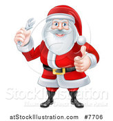 Vector Illustration of a Happy Christmas Santa Claus Holding an Adjustable Wrench and Giving a Thumb up 2 by AtStockIllustration