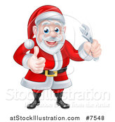 Vector Illustration of a Happy Christmas Santa Claus Holding an Adjustable Wrench and Giving a Thumb up by AtStockIllustration