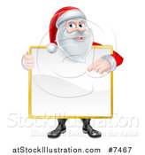 Vector Illustration of a Happy Christmas Santa Claus Holding and Pointing to a Blank Sign Covering His Torso by AtStockIllustration