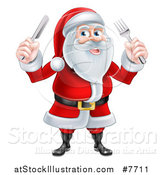 Vector Illustration of a Happy Christmas Santa Claus Holding Silverware by AtStockIllustration