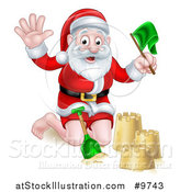 Vector Illustration of a Happy Christmas Santa Claus Making a Sand Castle by AtStockIllustration