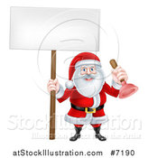 Vector Illustration of a Happy Christmas Santa Claus Plumber Holding a Plunger and Blank Sign 2 by AtStockIllustration