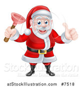 Vector Illustration of a Happy Christmas Santa Claus Plumber Holding a Plunger and Giving a Thumb up 3 by AtStockIllustration