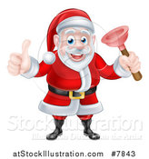 Vector Illustration of a Happy Christmas Santa Claus Plumber Holding a Plunger and Giving a Thumb up by AtStockIllustration