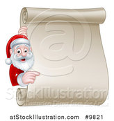 Vector Illustration of a Happy Christmas Santa Claus Pointing Around a Scroll Sign by AtStockIllustration