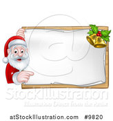 Vector Illustration of a Happy Christmas Santa Claus Pointing Around a Sign with Bells by AtStockIllustration