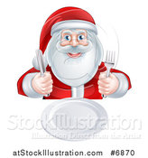 Vector Illustration of a Happy Christmas Santa Claus Sitting with a Clean Plate and Holding Silverware by AtStockIllustration
