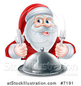 Vector Illustration of a Happy Christmas Santa Claus Sitting with a Cloche Platter and Holding Silverware by AtStockIllustration