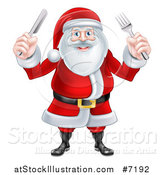 Vector Illustration of a Happy Christmas Santa Claus Standing and Holding Silverware by AtStockIllustration