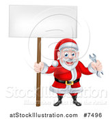Vector Illustration of a Happy Christmas Santa Holding a Spanner Wrench and Blank Sign 3 by AtStockIllustration