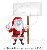 Vector Illustration of a Happy Christmas Santa Holding an Adjustable Wrench and Blank Sign 2 by AtStockIllustration