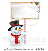 Vector Illustration of a Happy Christmas Snowman Holding up a Festive Sign by AtStockIllustration