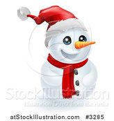 Vector Illustration of a Happy Christmas Snowman in a Santa Hat by AtStockIllustration