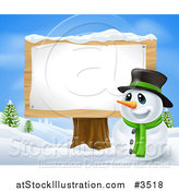 Vector Illustration of a Happy Christmas Snowman in a Top Hat by a Wood Sign Post by AtStockIllustration