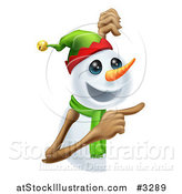 Vector Illustration of a Happy Christmas Snowman Pointing at a Sign by AtStockIllustration