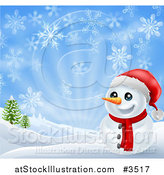 Vector Illustration of a Happy Christmas Snowman Smiling with Hills and Snowflakes by AtStockIllustration