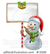 Vector Illustration of a Happy Christmas Snowman Wearing a Santa Hat and Pointing to a Blank Sign by AtStockIllustration