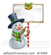 Vector Illustration of a Happy Christmas Snowman Wearing a Top Hat and Pointing to a Blank Sign by AtStockIllustration