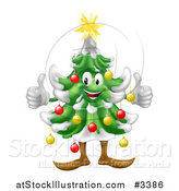 Vector Illustration of a Happy Christmas Tree Mascot Holding Two Thumbs up by AtStockIllustration