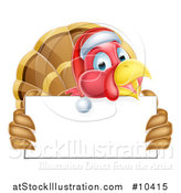 Vector Illustration of a Happy Christmas Turkey Bird Wearing a Santa Hat and Holding a Blank Sign Board by AtStockIllustration