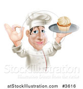 Vector Illustration of a Happy Chubby Chef Gesturing Okay and Holding a Cupcake on a Tray by AtStockIllustration