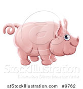 Vector Illustration of a Happy Chubby Pink Pig by AtStockIllustration