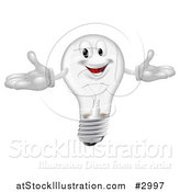 Vector Illustration of a Happy Clear Lightbulb Mascot with Open Arms by AtStockIllustration