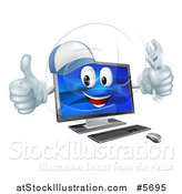 Vector Illustration of a Happy Computer Mascot Holding a Wrench and Thumb up by AtStockIllustration