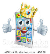 Vector Illustration of a Happy Crowned Cell Phone Mascot Holding Two Thumbs up by AtStockIllustration